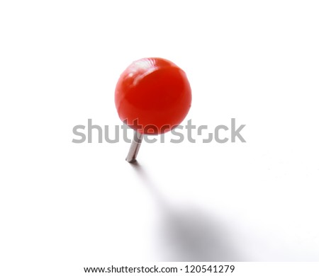 Red push pin isolated on white - stock photo