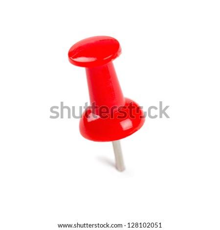 Red Push pin on white - stock photo