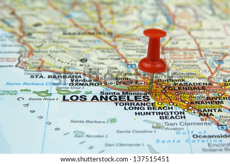 red push pin pointing at Los Angeles, USA - stock photo