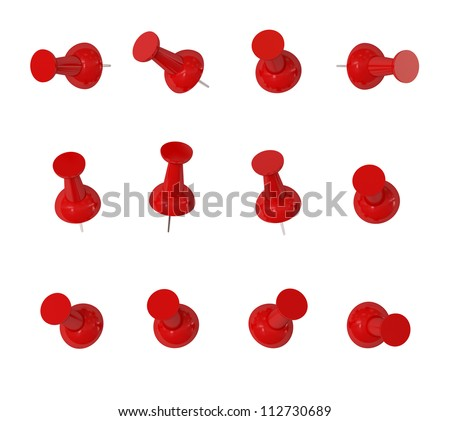 Red Push Pins - Isolated on White Background - stock photo