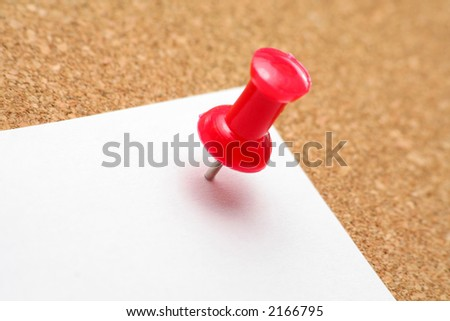 red pushpin and white notepaper - stock photo