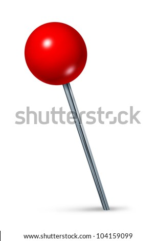 Red pushpin as a navigation symbol of a travel location and position also an icon of business direction on a white background. - stock photo
