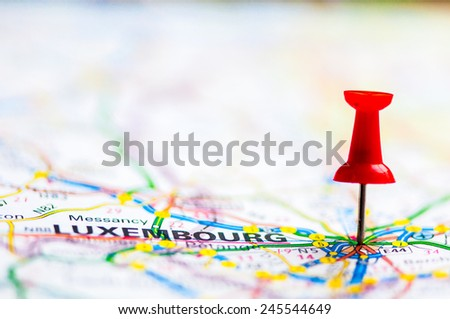 Red pushpin showing Luxembourg On Map, Travel Destination Concept - stock photo