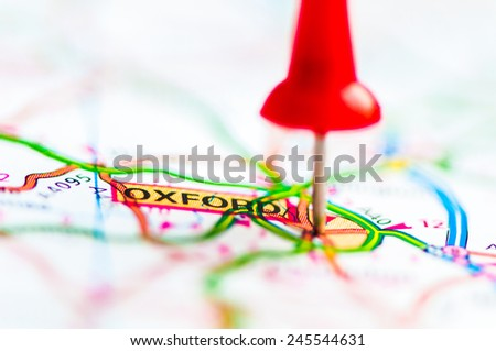 Red pushpin showing Oxford City On Map, United Kingdom, Travel Destination Concept  - stock photo