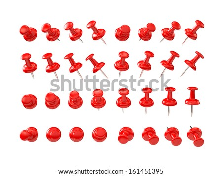Red pushpin , various shapes , clipping path  - stock photo
