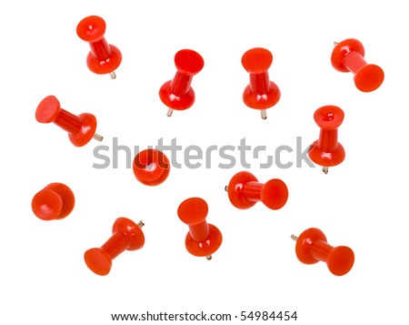 Red Pushpins isolated on white background - stock photo