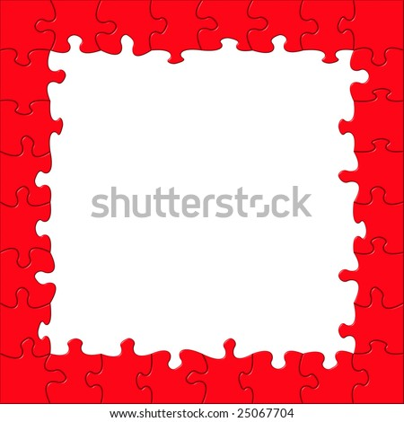 Red puzzle frame on white background. Copy space. - stock photo