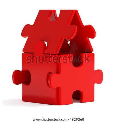 Red Puzzle Home - stock photo