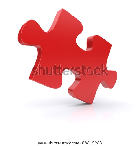 Red puzzle on a white background. 3d rendered image - stock photo