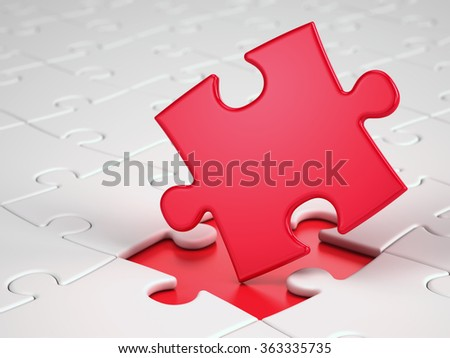 Red puzzle piece - stock photo