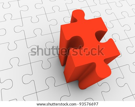 Red puzzle piece projecting from grey puzzle - stock photo