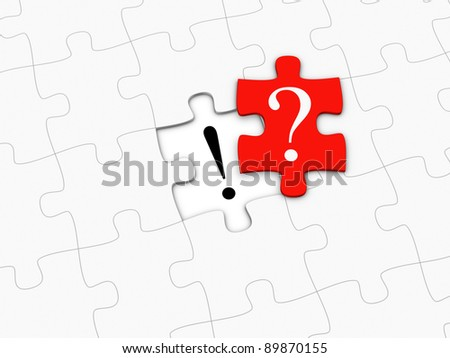 Red puzzle piece with question mark - stock photo