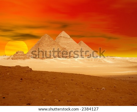 Red Pyramids sunset - stock photo