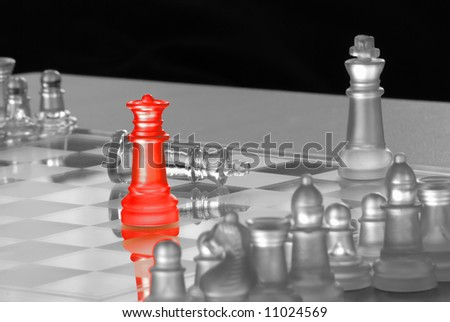 Red Queen on Chess Board - stock photo