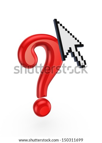 Red query mark and cursor.Isolated on white.3d rendered. - stock photo