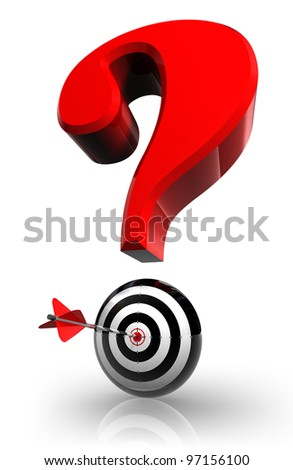red question mark and concept target with arrow on white background clipping path included