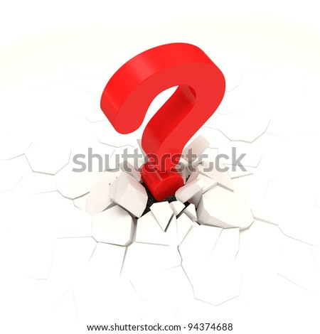 Red Question Mark Broke Concrete Floor - stock photo