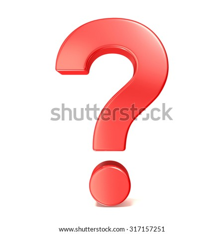 Red question mark. 3D render illustration isolated on white background - stock photo