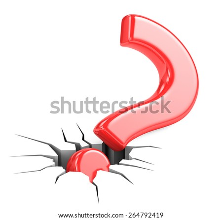 Red Question Mark in the cracks - stock photo