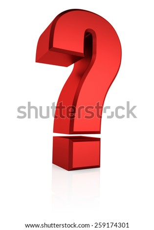 Red question mark isolated on white background. 3d render - stock photo