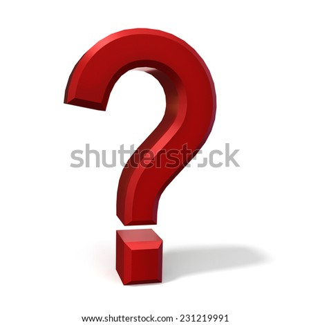 red question mark isolated on white background. High quality 3D render. - stock photo