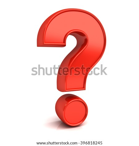 Red question mark isolated over white background with reflection and shadow - stock photo