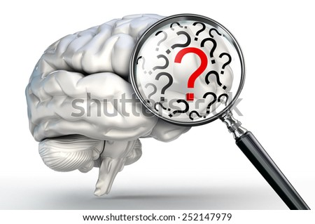 red question mark on magnifying glass and human brain on white background - stock photo