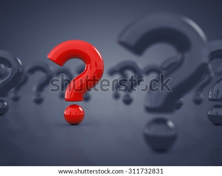 Red question mark standing out amid white question marks , Original idea - stock photo