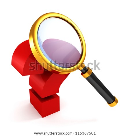 red question mark under golden magnifier glass - stock photo