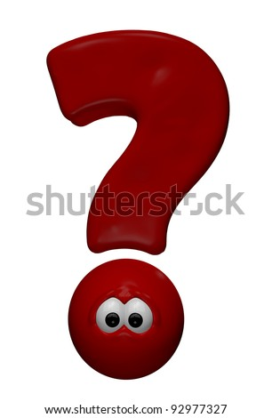 red question mark with eyes - 3d cartoon illustration - stock photo