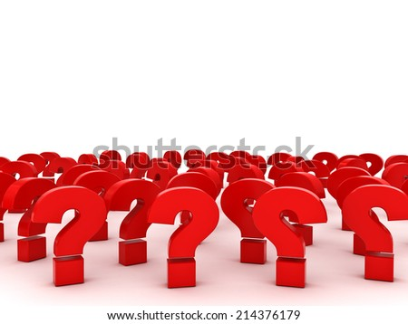 Red Question marks with empty space above over white background - stock photo