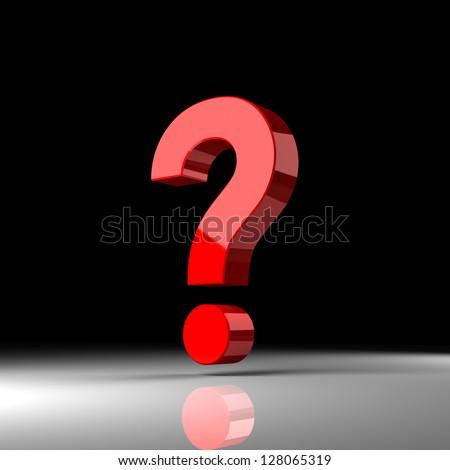 "Red question sign ""?"" over black background. 3d render illustration - stock photo"