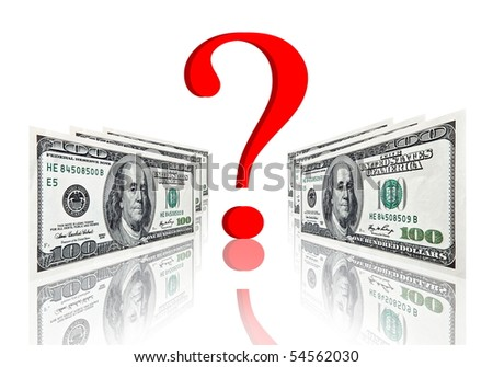 red question symbol between dollar banknotes isolated on white - stock photo