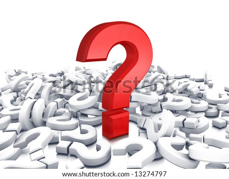 red question symbol on heap - stock photo