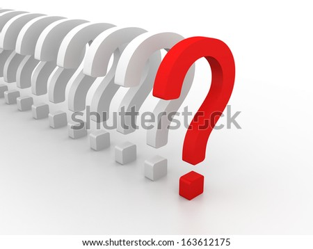 red question symbol within a row of white signs isolated on white background with selective focus effect