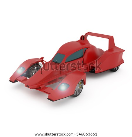 Red Race Car isolated on white - 3d illustration - stock photo