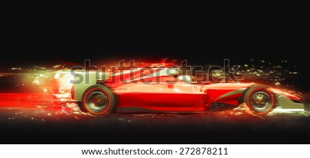 Red race car with light effect. Race car with no brand name is designed and modelled by myself - stock photo