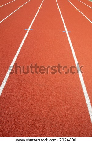 red race track in an arena - stock photo