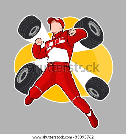 Red racer of Formula 1 jump with wheels - stock photo