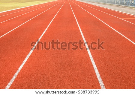 Red racetrack for competition in the stadium