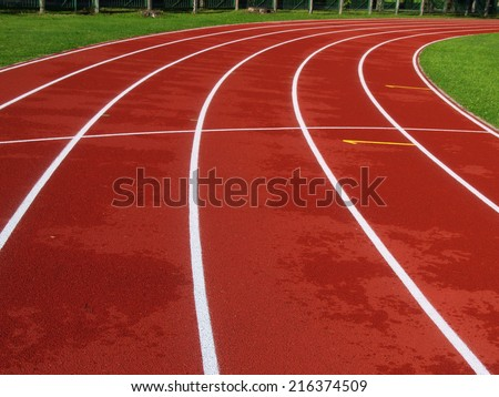 Red racetrack on the stadium in Riga - stock photo