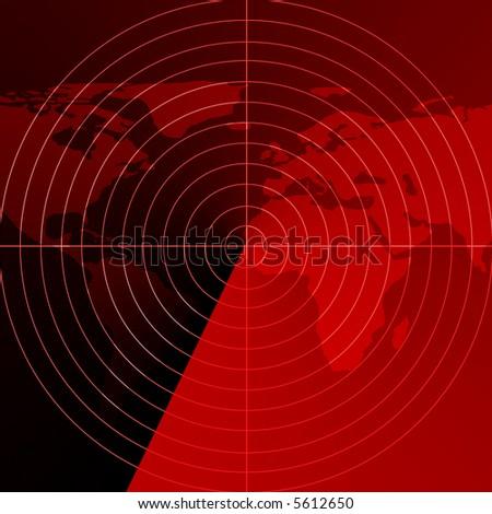 Red radar screen - stock photo
