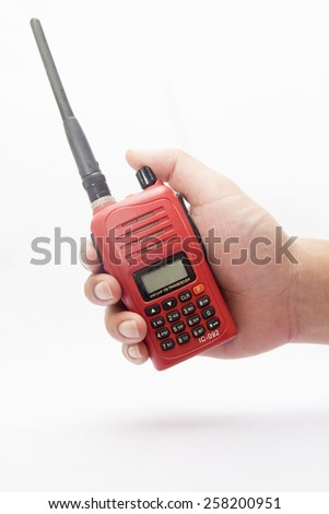 Red radio communication on white background, red for radio amateurs. - stock photo