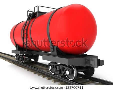 Red railroad tank wagon on a white background. - stock photo
