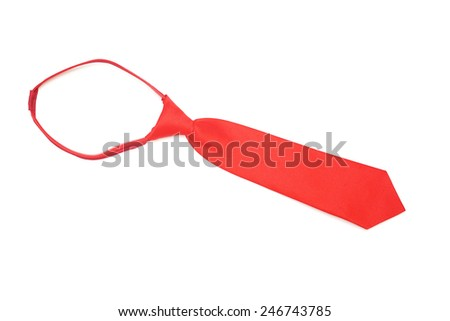 red ready-to-wear necktie on white background, top view - stock photo