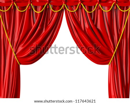 Red realistic theater curtain, isolated on white background. - stock photo
