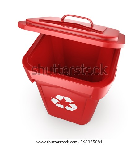 Red Recycling Bin isolated on white background