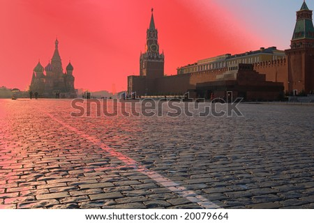 red Red Square - stock photo
