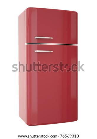 Red refrigerator. 3D render. - stock photo