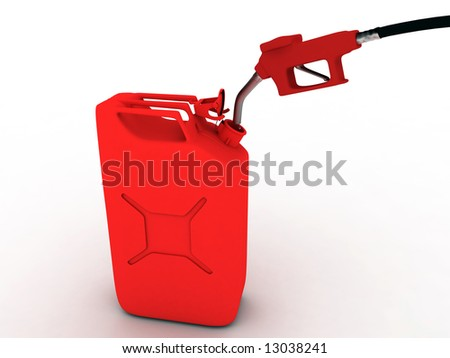 red refueling hose and gas can - stock photo